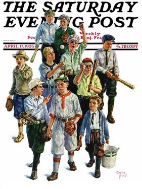"""Boy's Baseball Team,"" Saturday Evening Post Cover, April 17, 1926 by Eugene Iverd"