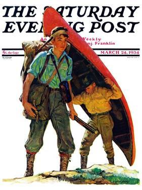 """""""Canoe Portage,"""" Saturday Evening Post Cover, March 24, 1934 by Eugene Iverd"""