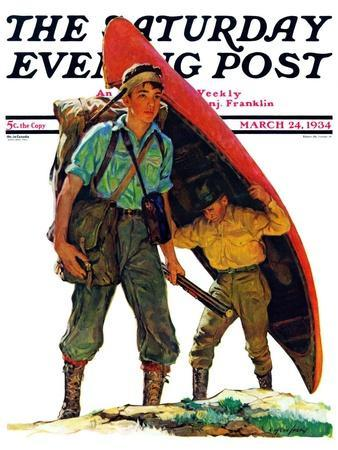 """""""Canoe Portage,"""" Saturday Evening Post Cover, March 24, 1934"""
