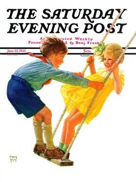 """Children on Swing,"" Saturday Evening Post Cover, June 22, 1935 by Eugene Iverd"
