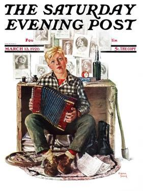"""Daydreaming Accordianist,"" Saturday Evening Post Cover, March 13, 1926 by Eugene Iverd"
