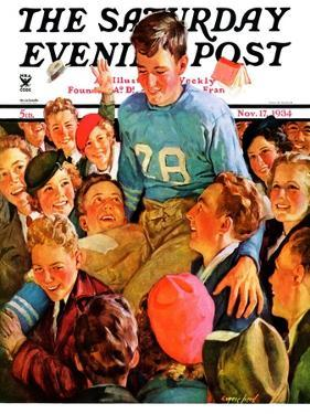 """Football Hero,"" Saturday Evening Post Cover, November 17, 1934 by Eugene Iverd"
