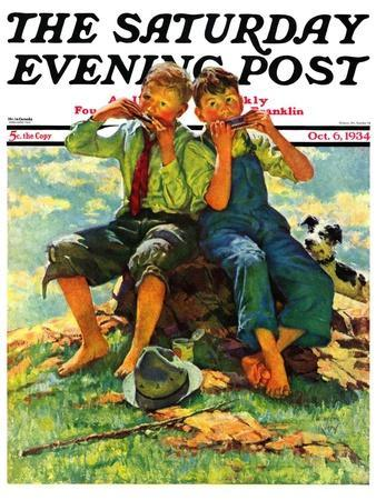 """""""Harmonica Players,"""" Saturday Evening Post Cover, October 6, 1934"""