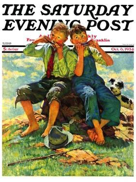 """Harmonica Players,"" Saturday Evening Post Cover, October 6, 1934 by Eugene Iverd"