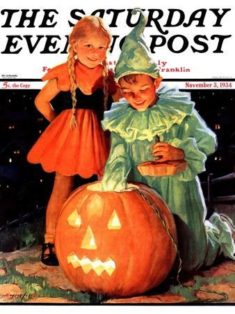 """Lighting the Pumpkin,"" Saturday Evening Post Cover, November 3, 1934"