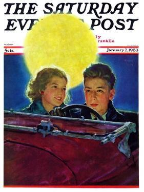 """Moonlit Car Ride,"" Saturday Evening Post Cover, January 7, 1933 by Eugene Iverd"