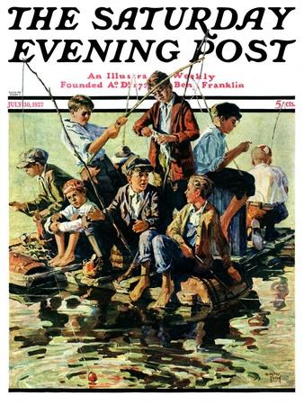 """""""Raft Fishing,"""" Saturday Evening Post Cover, July 30, 1927"""