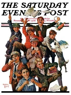 """School's Out,"" Saturday Evening Post Cover, June 25, 1927 by Eugene Iverd"