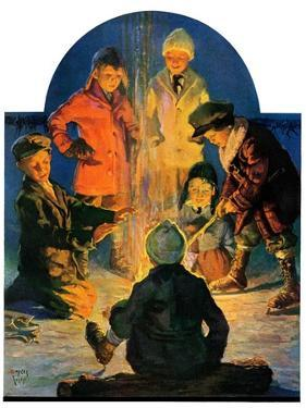 """Skaters' Bonfire,""February 21, 1931 by Eugene Iverd"