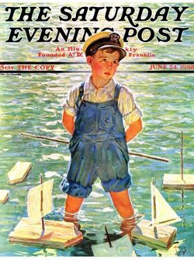 """""""Toy Sailboats,"""" Saturday Evening Post Cover, June 24, 1933 by Eugene Iverd"""