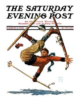 """Wipeout on Skis,"" Saturday Evening Post Cover, March 3, 1928 by Eugene Iverd"
