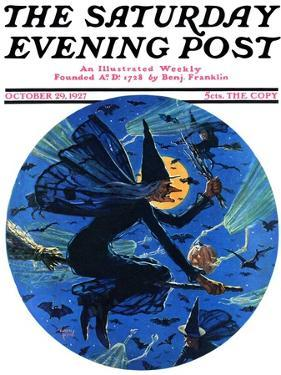 """Witches Night Out,"" Saturday Evening Post Cover, October 29, 1927 by Eugene Iverd"