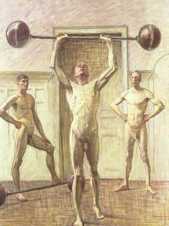 Pushing Weights with Two Arms, Number 3, 1914
