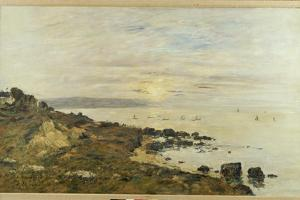 Cliffs at Benerville, Sunset, 1897 by Eugene Louis Boudin