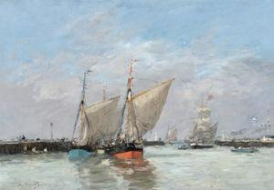 Trouville, The Jetties, High Tide, 1876 by Eugene Louis Boudin