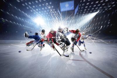 Collage from Hockey Players in Action by Eugene Onischenko