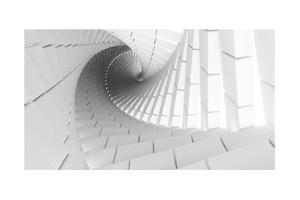 3D Abstract Background Illustration With Helix Made Of White Chamfer Boxes by Eugene Sergeev
