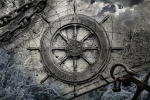 Vintage Navigation Background Illustration with Steering Wheel, Charts, Anchor, Chains by Eugene Sergeev