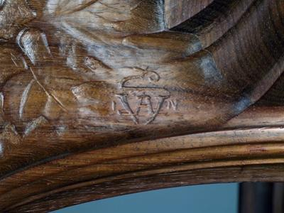 Eugene Vallin's Signature, Detail from Art Nouveau Style Three-Tier Pedestal Table, Ca 1910