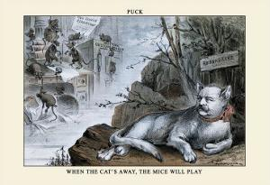 Puck Magazine: When the Cat's Away, The Mice Will Play by Eugene Zimmerman
