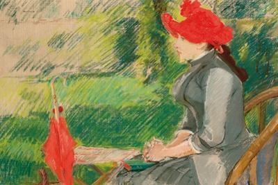 Reading in the Garden; or Woman in Red Hat, C. 1880-1882 (Pastel and Charcoal on Canvas)