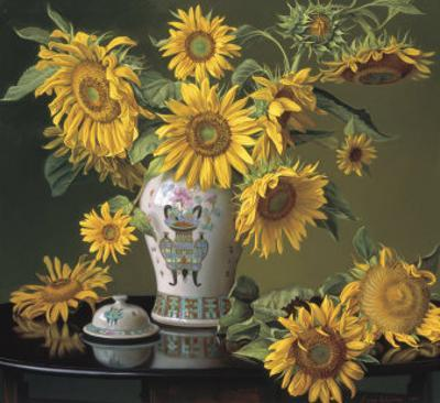 Sunflowers in a Chinese Vase by Evan Wilson