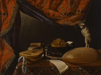 Still Life with Musical Instruments, Books and Sculpture, C. 1650 by Evaristo Baschenis