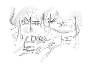 """Car passes sign by small houses """"The Amenities"""". - New Yorker Cartoon by Everett Opie"""
