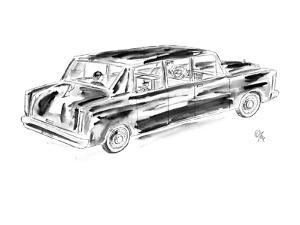Young boy being driven home by chauffer. - New Yorker Cartoon by Everett Opie