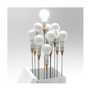 Drawing Idea Pencil And Light Bulb Concept Outside The Box As Creative by everythingpossible