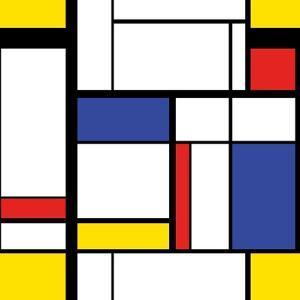 Abstract Modern Painting in Mondrian Style, Seamless Pattern by Evgenii Bobrov