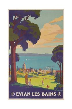 Evian Les Bains, French Plm Railway Gold Poster