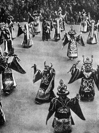 Masked Dancers, Tibet, 1936 by Ewing Galloway