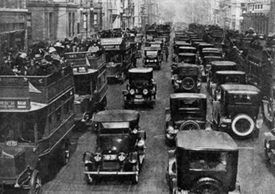 Traffic on 5th Avenue as Seen from a Control Tower, New York City, USA, C1930s by Ewing Galloway