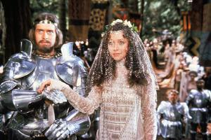 Excalibur by Joahn Booman with Nigel Terry (king Arthur) and Cherie Lunghi (Guenievre) c, 1981 (pho