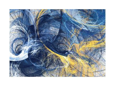 Abstract Bright Motion Composition. Modern Futuristic Dynamic Background. Blue and Yellow Color Art