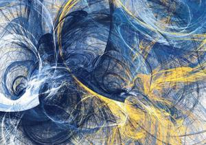 Abstract Bright Motion Composition. Modern Futuristic Dynamic Background. Blue and Yellow Color Art by Excellent backgrounds