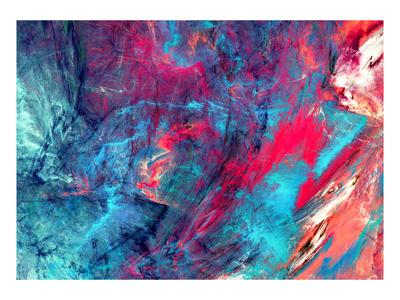 Bright Artistic Splashes. Abstract Painting Color Texture. Modern Futuristic Pattern. Blue and Pink