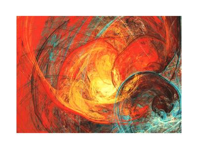 Flaming Sun. Abstract Painting Texture in Summer Color. Modern Futuristic Red Pattern. Bright Color