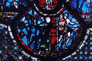 Expulsion from Eden, Stained Glass, Chartres Cathedral, France, 1205-1215