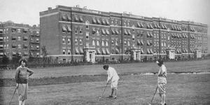 Exterior of Hawthorne Court Apartments, Jackson Heights, New York, 1922
