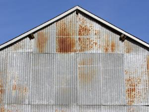 Exterior of Rusting Corrugated Metal Building