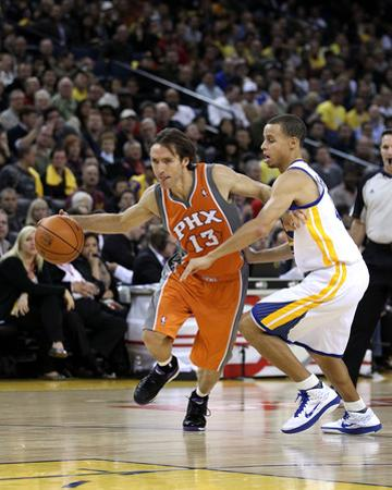 Phoenix Suns v Golden State Warriors: Steve Nash and Stephen Curry by Ezra Shaw