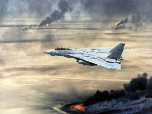 F-14 Fighter Flies over Burning Kuwaiti Oil During First Gulf War, March 1, 1991