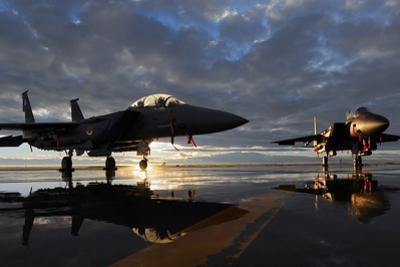 F-15 Strike Eagle Fighters at Mountain Home Air Force Base Idaho at Sunset, 2010