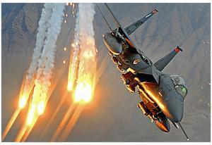 F-15E Strike Eagle (Launching Heat Decoys) Art Poster Print
