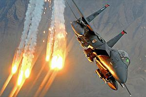F-15E Strike Eagle (Launching Heat Decoys) Art Poster Print