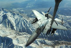F-15E Strike Eagle (Refueling Above Mountains) Art Poster Print