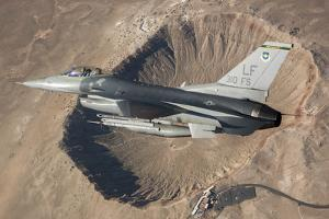 F-16C Fighting Falcon Flying Above Arizona's Meteor Crater