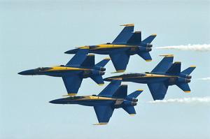 F/A-18 Hornet fighters in flight